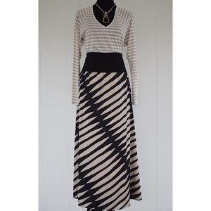 Reiss geometric print band waist maxi skirt sz 8